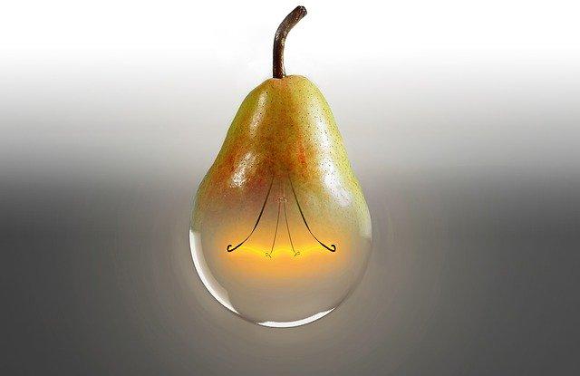 Hruška – žiarovka na rozmazanom pozadí.jpg